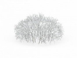Pretty snow covered shrubs 3d model preview