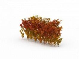 Autumn shrubs hedge 3d preview