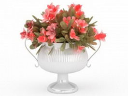 Pink flowers in vase 3d preview