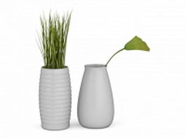 Plants in white vase 3d preview