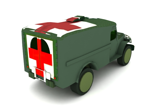 Military ambulance vehicle 3d rendering