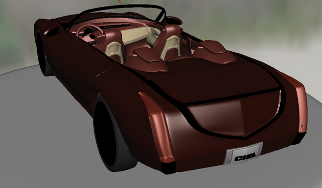 Red Cadillac convertible 3d rendering