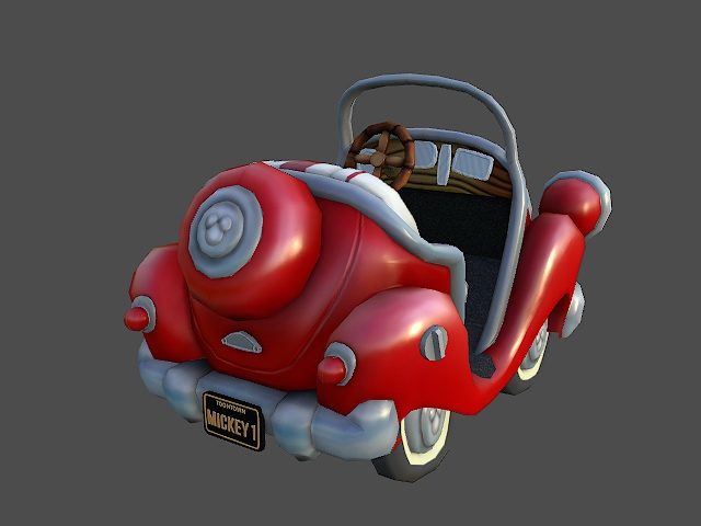 Red Cartoon Car 3d Model 3ds Max Files Free Download