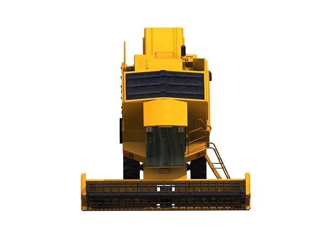 Yellow combine harvester 3d rendering