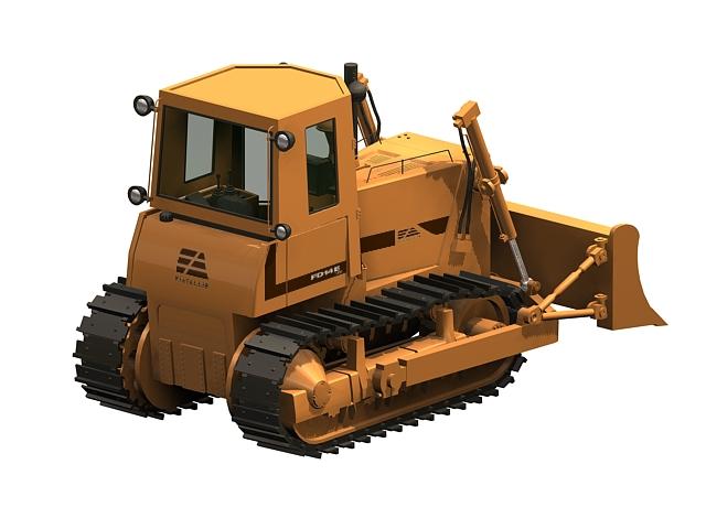 Heavy bulldozer 3d rendering