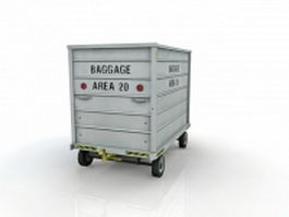 Airport baggage cart 3d preview