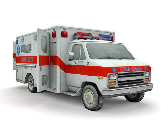 Old ambulance truck 3d rendering