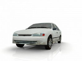 Old white car 3d model preview