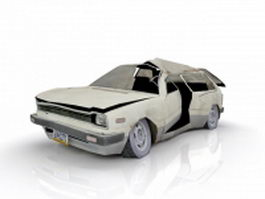Old wrecked car 3d model preview