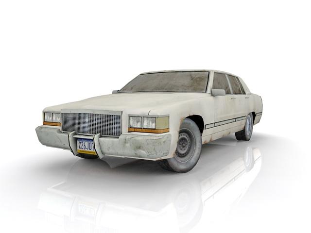 Dirty white car 3d rendering