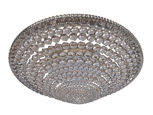 Crystal flush ceiling light 3d rendering