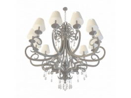 Neoclassical style 12-arm chandelier 3d model preview