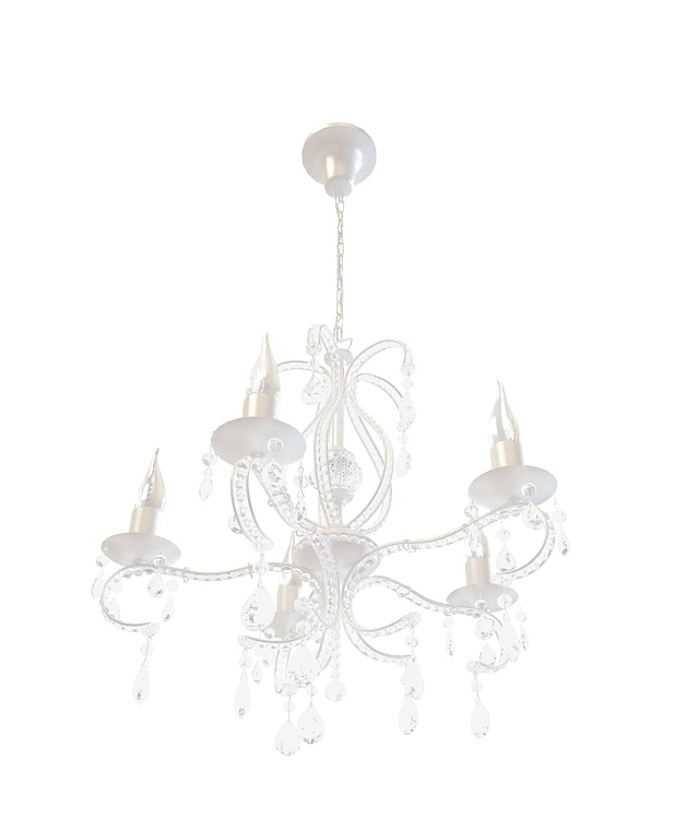 5-Arm crystal chandelier 3d rendering