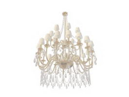 Antique chandelier with shades 3d model preview
