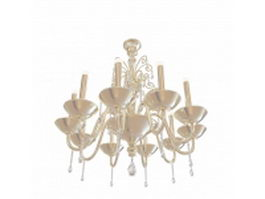 10 Light brass chandelier 3d model preview