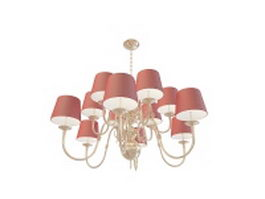 Red chandelier with shades 3d preview