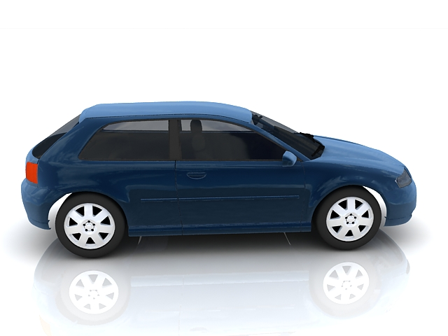 Audi A3 small family car 3d rendering