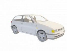 White hatchback car 3d model preview