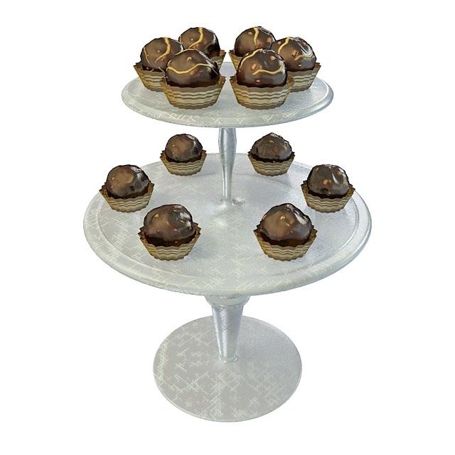 Chocolate dessert on plate 3d rendering