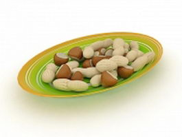 Chestnuts and peanuts on plate 3d preview