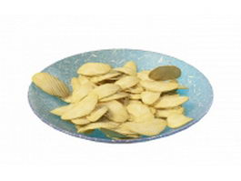 Potato chips on plate 3d preview