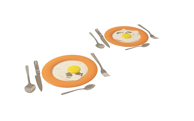 Fried eggs on plate 3d rendering