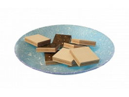 Chocolate wafers on plate 3d model preview