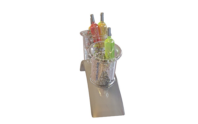Champagne in ice bucket with rack 3d rendering