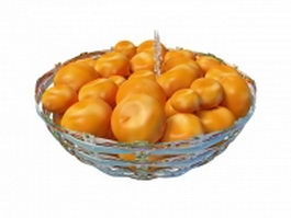 Persimmons fruit in basket 3d preview