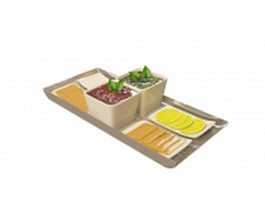 Breakfast on food tray 3d preview