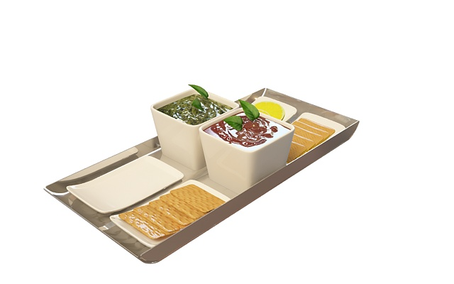 Breakfast on food tray 3d rendering