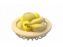 Banana and apple fruit basket 3d preview