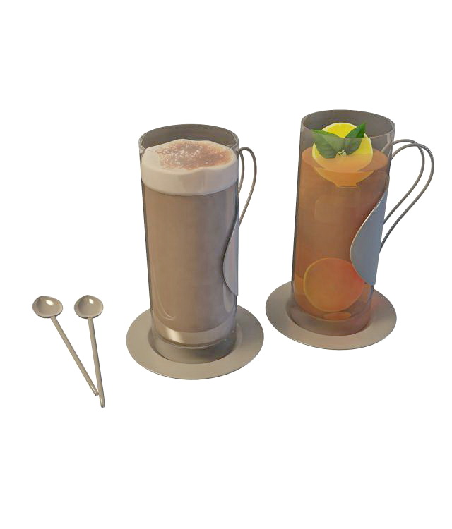 Black ice tea and hot chocolate 3d rendering