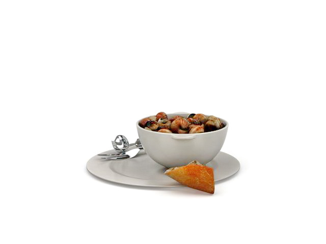 French food snails 3d rendering
