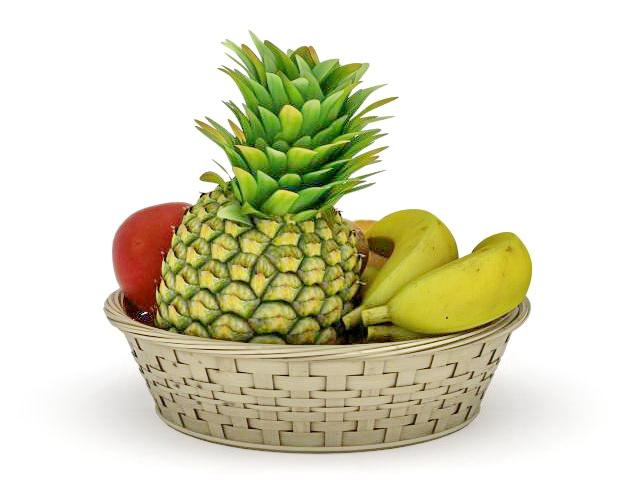 Basket of fruits 3d rendering