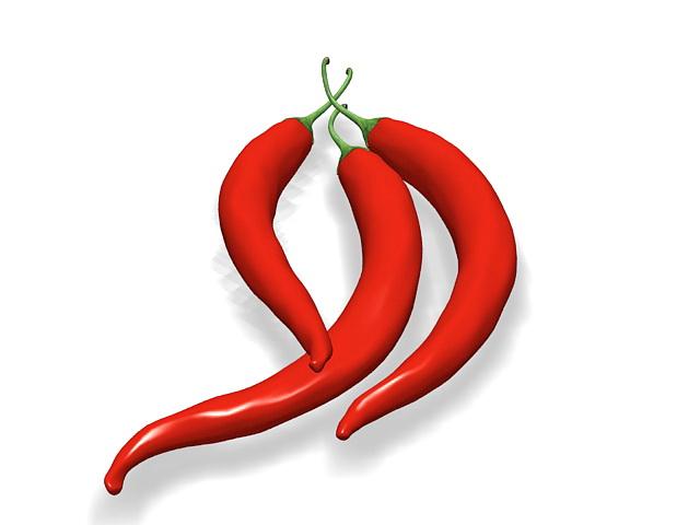 Chili pepper 3d rendering
