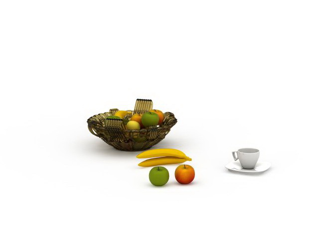 Fruit bowl and cup 3d rendering