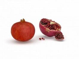 Fruit of Punica granatum split 3d model preview