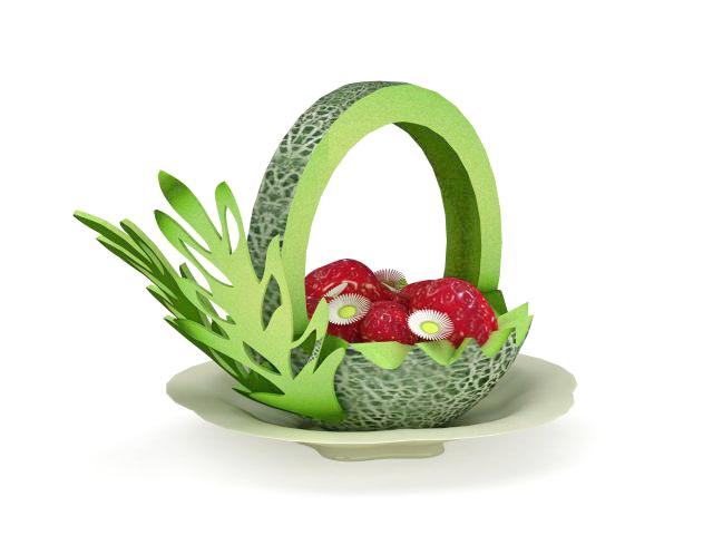 Fresh fruit platter 3d rendering
