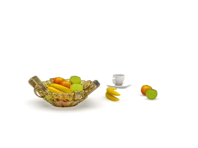 Bowl of fresh fruit 3d rendering