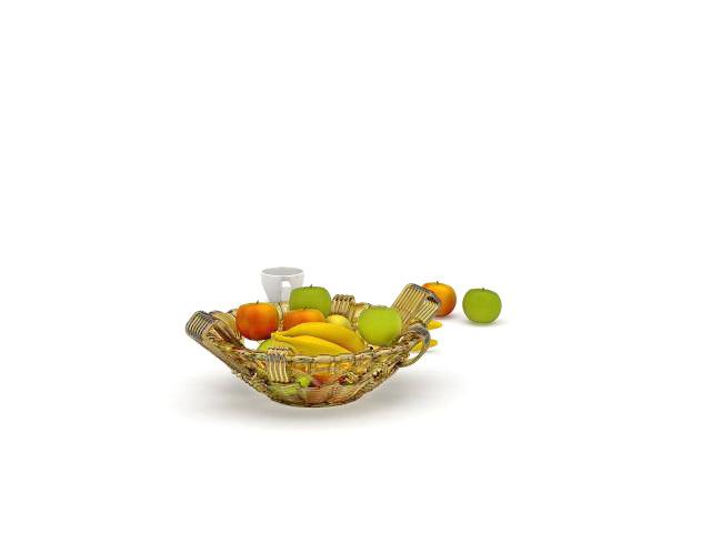 Bowl of fresh fruit 3d rendering