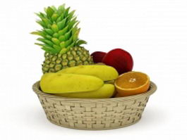 Fresh fruits basket 3d preview