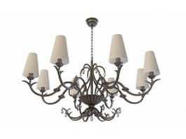 Wrought iron rustic chandelier 3d preview