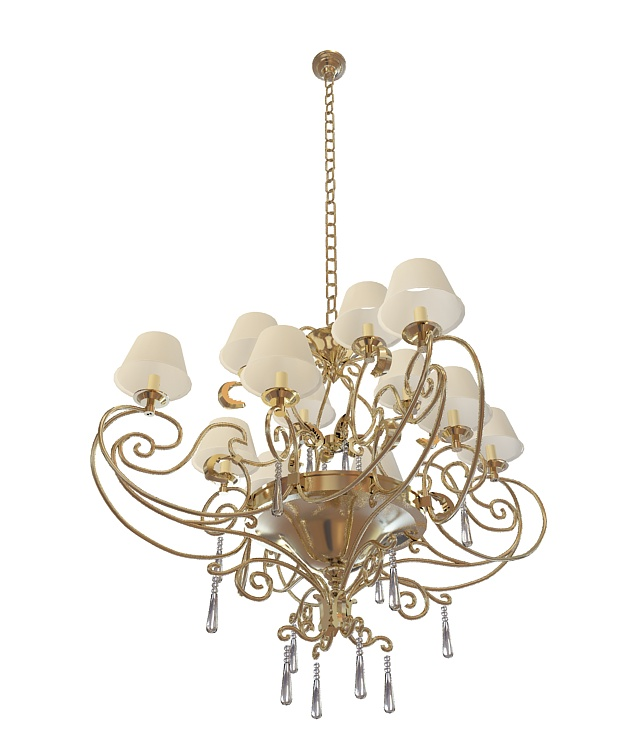 Dutch brass chandelier 3d rendering