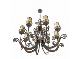 Antique bronze chandelier with shades 3d preview