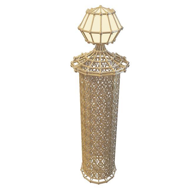 Decorative garden lamp 3d rendering