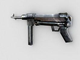 MP 40 submachine gun 3d model preview