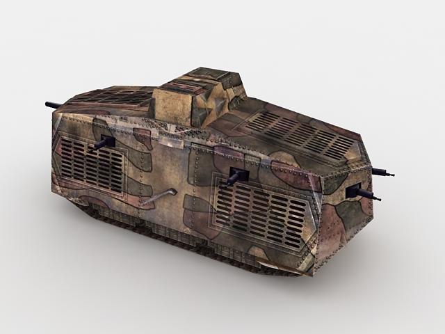 WW1 Germany A7V tank 3d rendering