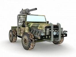 Machine gun truck 3d model preview