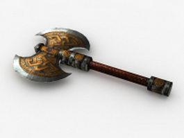 Ornate Medieval Battle Axe 3d model preview